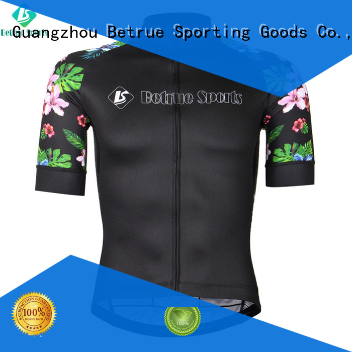 Hot black mens cycling jersey flowers purple Betrue Brand